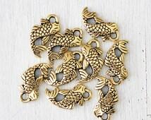 Antique Gold Koi Fish Charm Japanese Charm Lead Free Pewter Tierracast 105TCA