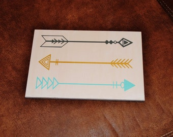 Tribal Arrows - Solid Wood, Hand Painted 1-sided Sign. Woodland Theme Nursery. Native American Art - Options Available!!
