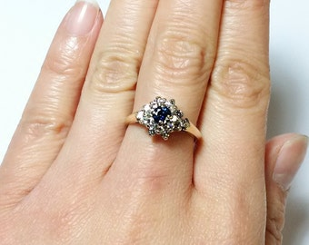 Vintage 14K Gold Sapphire and Diamond Cluster Ring