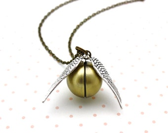 Harry Potter, Golden Snitch Locket Necklace, Silver Wing Snitch