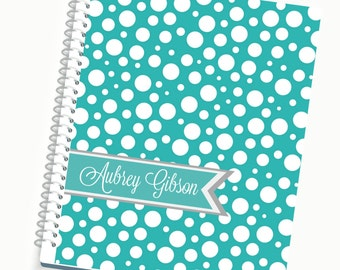 Planners, 2017 Day Planner, Tiffany Polka Dot Cover, Weekly Planner, Agenda, Personalized Planners, Custom Journals, Notebooks, Meal Planner