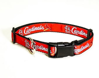 "St. Louis Cardinals Dog Collar (3/4"" and 1"" width) - Martingale - Small - Medium - Large - Extra Large"
