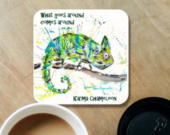 Chameleon coaster, whats goes around comes around, Karma chameleon, chameleon drinks mat, coaster, lizard coaster