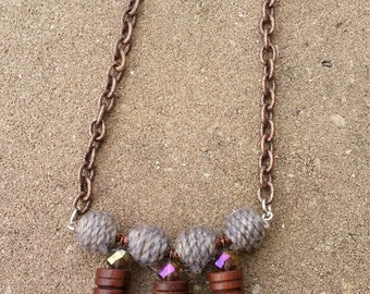 Wood & Wool Necklace