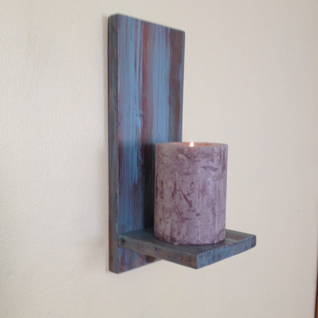 Wooden Wall Sconce Candle Holder : Wooden Candle Holder Wood Wall Sconce Rustic Candle Holder