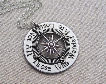 Personalized necklace, not all those who wander are lost, hand stamped jewelry, compass necklace, gift for him, gift for her, quote jewelry