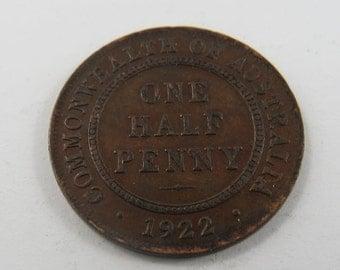 Australia 1922 One Half Penny Coin.
