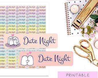 Date Night Stickers, Date Planner Sticker, Cute Printable Stickers, Penguin Stickers, Erin Condern Stickers, MAMBI Stickers, Pastel Stickers