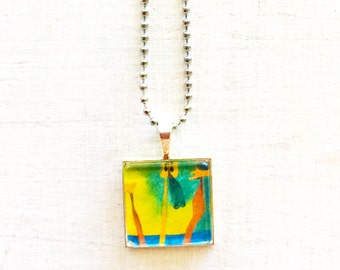 Pendant necklace in colour abstract design