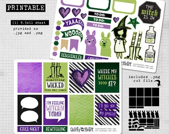Basic Witch - Printable Planner Stickers for Vertical Happy Planner or Erin Condren