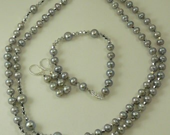 Freshwater Gray Pearl & Comet Crystal Necklace,Bracelet,Earring Set Silver Clasp