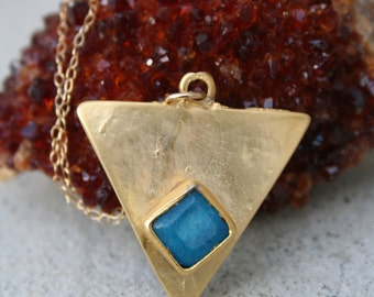 Blue Jade  Triange Pendant