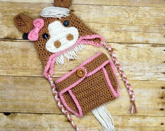 Crochet Horse Hat with matching diaper cover, Pony Outfit, newborn photo prop
