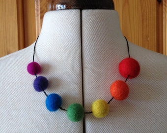 Rainbow Felt Necklace With Spaced Round Beads