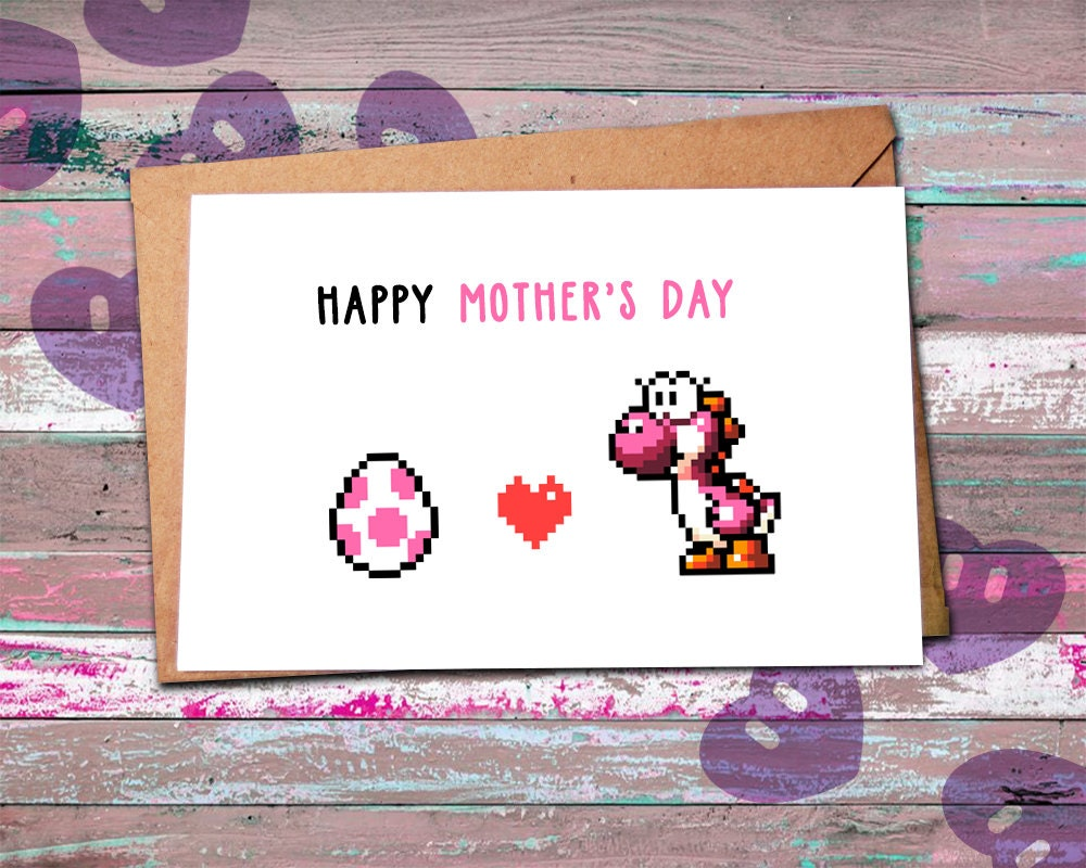mothers day card funny nerdy mothers day card yoshi egg