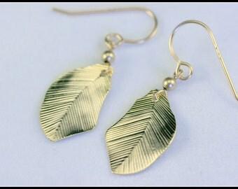 Gold Leaf earring - Leaf earring - dangle leaf earring - dangle and drop earring - gold women earring