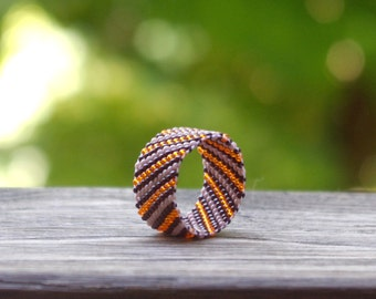 Seed bead ring,colorful ring, peyote ring, beaded ring, band ring, middle finger ring,summer ring, boho style, handmade ring, everyday ring
