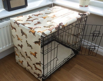 Small Dog Crate Cover - Crate Cover For Dogs - Dachshund Fabric - Dog Crate - Crate Cover - Dog Bed  - Dog Accessories - Sausage Dog Gift -