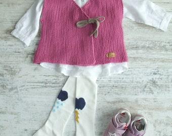 Pink Flower / Merino Wool Vest