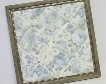 Blue Roses & Paisley fabric Framed Memo Board  **SALE**