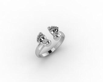 Newborn Legs Ring-Silver Adjustable Ring - Baby Birth Ring-Mom Gifts-Mom's Ring-Mom Jewelry-Newborn Ring