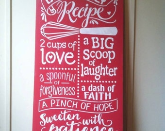 """Wood sign 'Our Family  Recipe' 12"""" x 24"""" wood kitchen sign kitchen wall art kitchen wood sign recipe wall art family inspirational wood sign"""