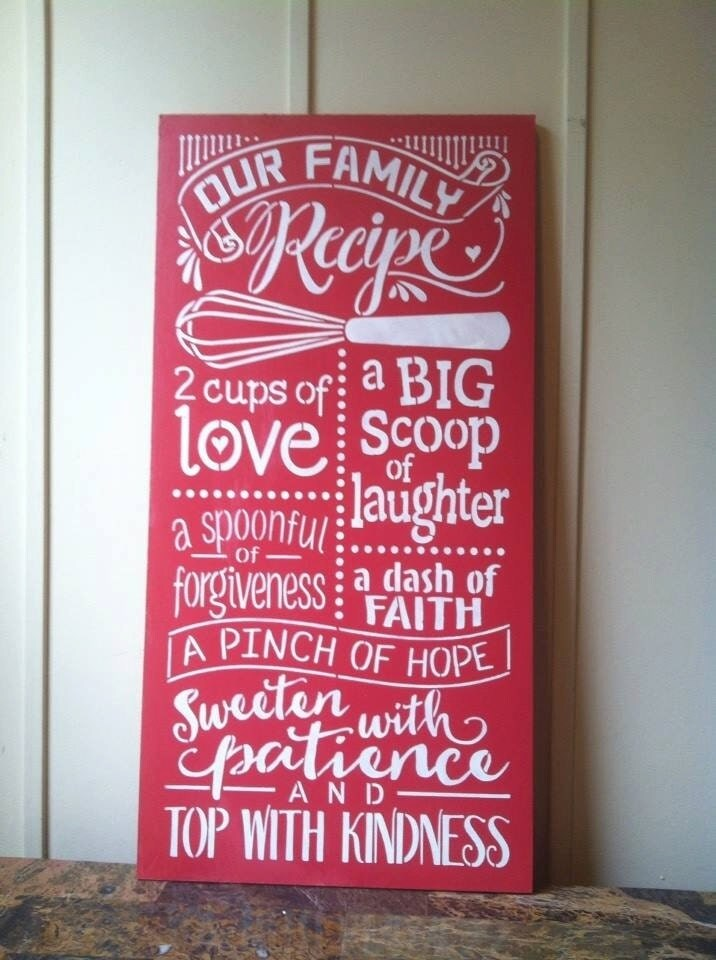 Wood Sign Our Family Recipe 12 X 24 Wood Kitchen Sign Kitchen