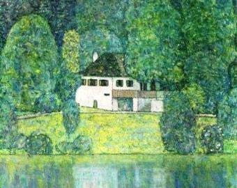 Landscape by Gustav Klimt Instant download picture Art Nouveau vintage digital White house green garden Ihappywhenyouhappy