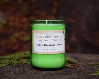 Christmas Spruce Soy Wax Candle in Upcycled Glass
