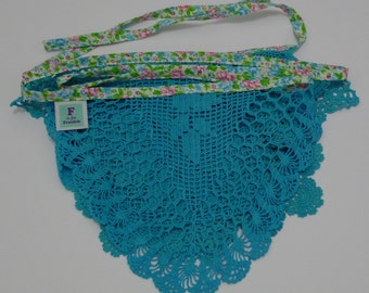 Turquoise vintage doily bunting