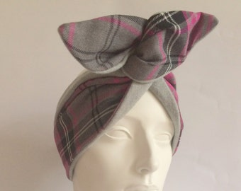 Wired Headband: Check and Wool Flannel