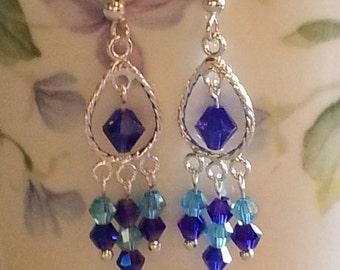 Blue Crystal and Silver Chandelier Earrings Dainty Earrings