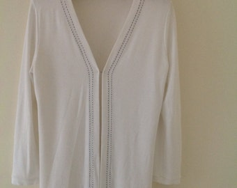 White cardigan, vintage cardigan, 80's top, preppy, ladies cardigan, vintage jacket, sweatshirt, oversized, boyfriend cardigan,