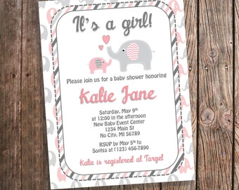 Pink and Gray Elephant Baby Shower Invitations - Stripes - Baby Girl - Printed Baby Shower Invites - Coral Elephant Theme Shower - PRINTED