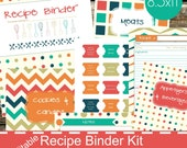 Recipe Binder Kit Printables - Editable Recipe Book, Organizer, Divider - Retro Theme