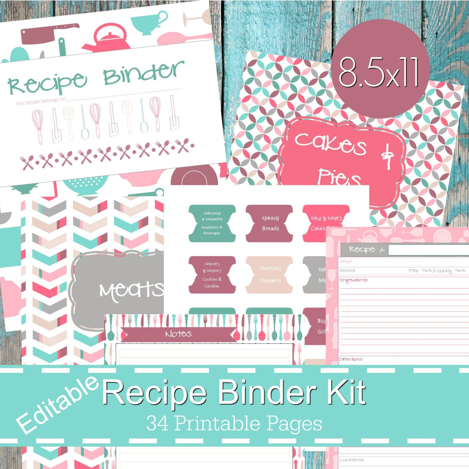 Geeky image pertaining to free printable recipe binder kit