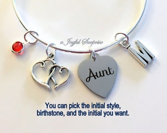 Charm Bracelet Gift for Aunt Present from Niece Nephew Auntie Jewelry Bangle Silver Pendant initial Birthstone Birthday Christmas Women Her