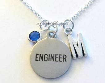 Engineer Necklace Engineering Jewelry Gift for Aerospace Mechanical charm Personalized Custom Initial Birthstone birthday Christmas present