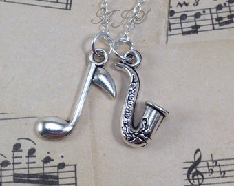 Saxophone Jewelry, Silver Saxophone Necklace, Sax Jewelry, Gift for Jazz Musician Gift, Band Student Instrument, Music Note Necklace 151