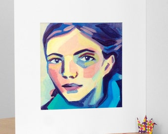 Painting, portrait of a young girl, art print, limited edition, Fine Art paper.