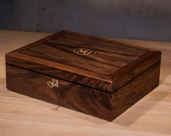 Monogrammed 6-Watches Box – Walnut & Ebony, Handcrafted, Handfinished, Personnalized Watch Box