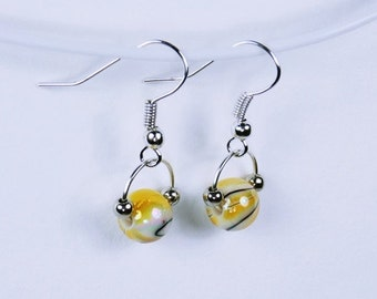 Beads on Silver earrings - earrings with yellow mottled yellow white