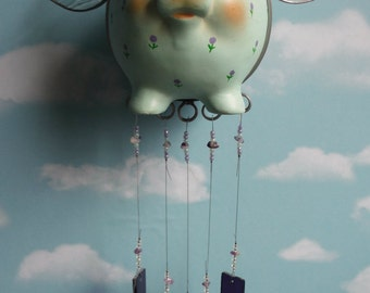 Steampunk Flying Pig With Silver Plate Chimes