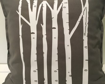 Beautiful Birch Trees on dark gray pillow case would look amazing on your couch