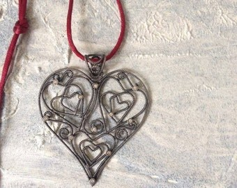 Sterling silver heart necklace - big heart necklace- Vintage silver heart necklace