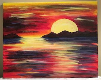 Rainbow Sunset, abstract acrylic painting, 16x20