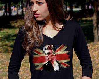 David Bowie Shirt David Bowie Tshirt David Bowie T shirt Ziggy Stardust Bowie Shirt V Neck Women 3/4 Sleeve Shirt Rock