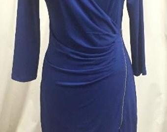 Royal Blue Zipper Mini Dress