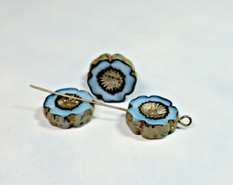 Turquoise Blue Hawaiian Flower, Silver Picasso, 16mm Table Cut, Czech Window Glass Beads (4 Pcs) Bead Supply