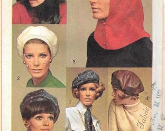 Vintage 1960s Simplicity 7872 Berets, Hood, Ascot and Sash Sewing Pattern Mod Hip